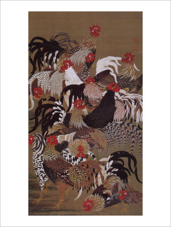 Japanese Rooster with Sunflower in Summer Giclee Print by Jyakuchu Ito