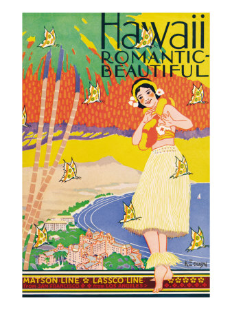 Hawaii, Romantic and Beautiful Giclee Print by Kerne Erickson