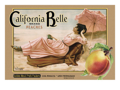 "Crate Label ""Peaches"" Giclee Print by Kerne Erickson"