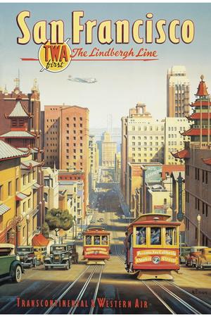 The Lindbergh Line, San Francisco, California Giclée-tryk af Kerne Erickson