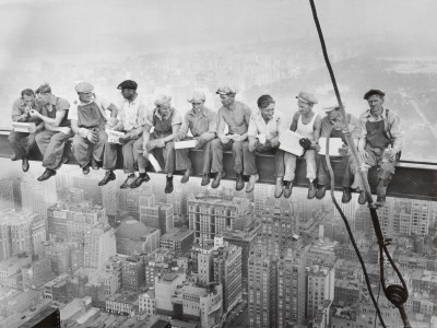 Lunch Atop a Skyscraper in New York, 1932 Black and White photo poster by Charles C. Ebbets