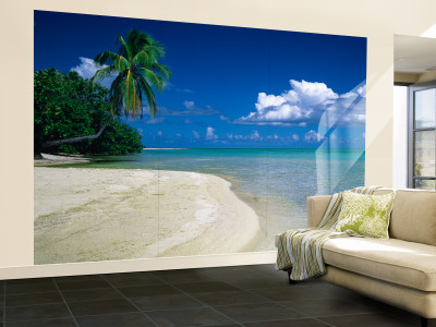 wallpaper murals beach. Palm Tree on the Beach, French Polynesia Wall Mural