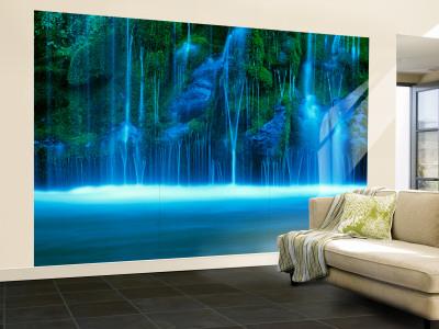Mossbrae Falls, Vandfald, Sacramento-floden, Shasta Cascade, Dunsmuir, Californien, USA Wall Mural – Large