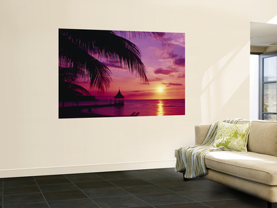 Sunset, Palm Trees, Beach, Water, Ocean, Montego Bay Jamaica Wall Mural
