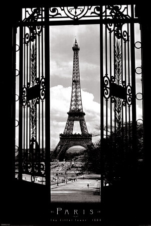 Black and white eiffel tower paris photo poster, popular college travel destination
