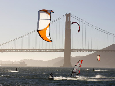 People Wind Surfing and Kitebording in the San Francisco Bay, California Photographic Print by Skip Brown