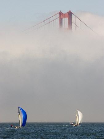 International 14 Skiffs Race under the Golden Gate Bridge, San Francisco Bay, California Photographic Print by Skip Brown