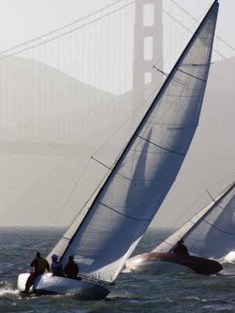 Sailboats Race on San Francisco Bay with the Golden Gate Bridge, San Francisco Bay, California Photographic Print by Skip Brown