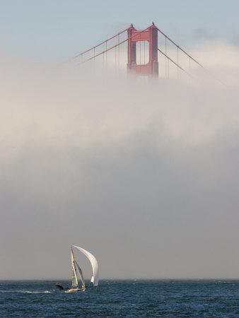 International 14 Skiff Sails under the Golden Gate Bridge, San Francisco Bay, California Photographic Print by Skip Brown