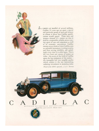 Cadillac, Magazine Advertisement, USA, 1927 Premium Poster