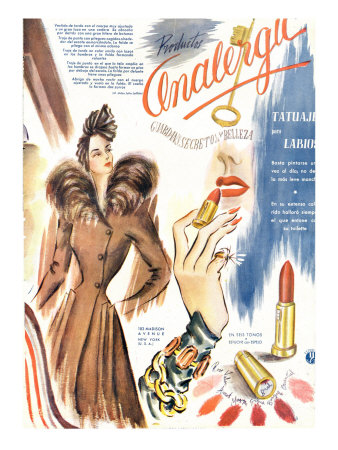 Lipstick, Magazine Advertisement, France, 1930 Kunstdruck