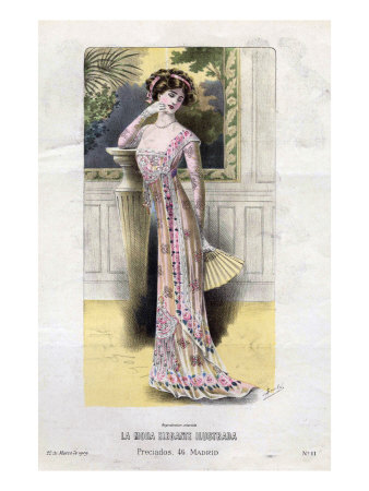 French Fashion, Magazine Plate, Spain, 1909 Sanatsal Reprodüksiyon