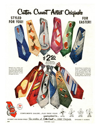 Cutter Cravat, Magazine Advertisement, USA, 1950 Kunstdruck