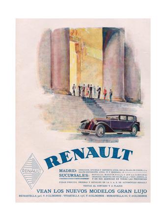 Renault, Magazine Advertisement, USA, 1930 Giclee Print