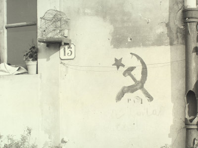 External Wall of a House on Which a Hammer and Sickle and PCI are Written Photographic Print by Vincenzo Balocchi