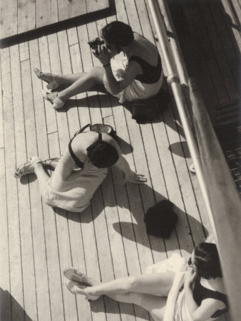 Three Women Sunbathing on the Deck of a Ship Photographic Print by Vincenzo Balocchi