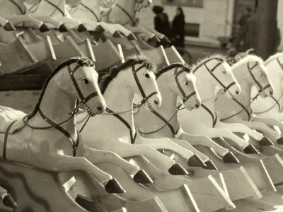 The Cavalcade, Rocking Horses Displayed Outdoors Photographic Print by Vincenzo Balocchi
