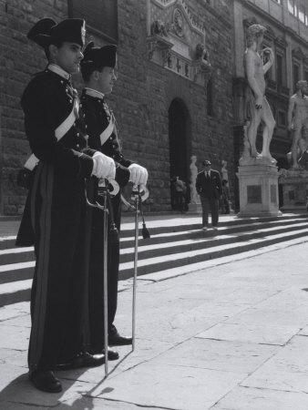 Carabinieri in Piazza Della Signoria in Florence Photographic Print by Vincenzo Balocchi