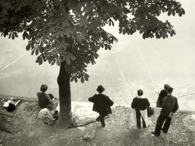 Little Girl with Group of Fishermen Gathered around a Tree Photographic Print by Vincenzo Balocchi