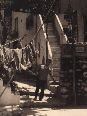 Young Man with Basket on San Francesco Street in Capri Photographic Print by Vincenzo Balocchi