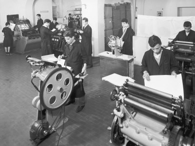 Gesu Divino Operaio Foundation, Workers in the Printing House in Borgo Panicale, Bologna Photographic Print