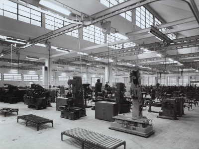 Inside of Fiat Factory in Bologna with Machinery and Workers Photographic Print