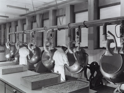Workers Operating Machinery at the Recordati Pharmaceutical Factory Photographic Print by A. Villani