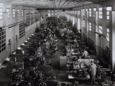 Many Workers Operating Machinery at the Ferrari Factory Photographic Print by A. Villani