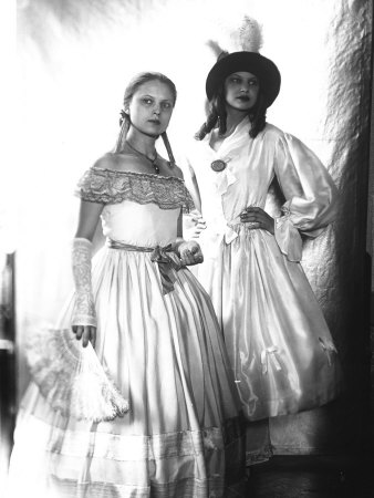 Wanda and Marion Wulz in Nineteenth Century Dress on the Occasion of a Masked Ball Photographic Print by Carlo Wulz