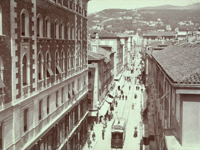 Aerial View of Via St. Antonio, in Trieste, with the Hill of Scorcola Photographic Print by Giuseppe Wulz