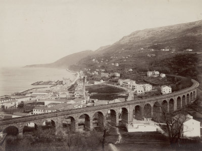 Barcola Viaduct with the Smokestack of Stock Factory, Trieste Photographic Print by Giuseppe Wulz