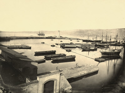 The Lazzaretto Vecchio Area of the Port of Trieste Photographic Print by Giuseppe Wulz