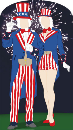 Aunt and Uncle Sam Lifesize Stand-In Cardboard Cutouts