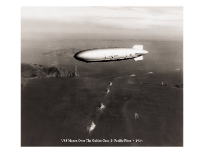 USS Macon over the Golden Gate and Pacific Fleet, 1934 Giclee Print by Clyde Sunderland