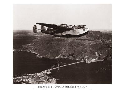 Boeing B-314 over San Francisco Bay, California 1939 Gicléetryck av Clyde Sunderland