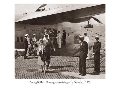 Boeing B-314, Passengers Arrive at La Gaurdia, 1939 Giclee Print by Clyde Sunderland