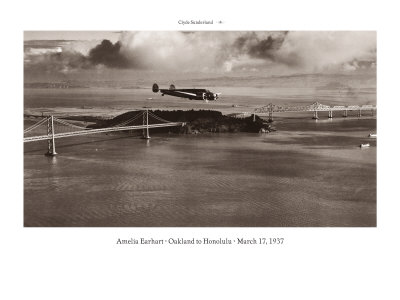 Amelia Earhart in Flight, Oakland to Honolulu, March 17, 1937 Giclee Print by Clyde Sunderland