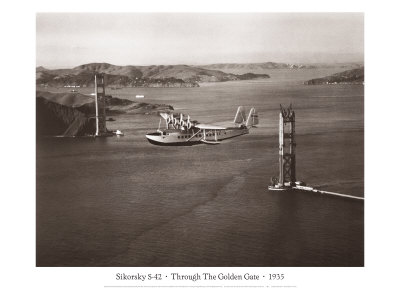 Sikorsky S-42 through the Golden Gate under Construction, San Francisco, 1935 Giclee Print by Clyde Sunderland
