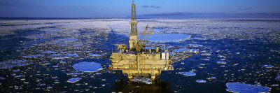 Oil Production Platform in Icy Water, Cook Inlet, Trading Bay, Alaska, USA Photographic Print by  Panoramic Images
