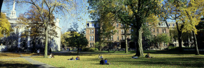 Students at a University Campus, Harvard University, Cambridge, Massachusetts, USA Photographic Print by  Panoramic Images