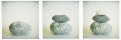 Polaroid Triptych of Sea-Worn Pebbles Created Using Three Polaroid Images Photographic Print by Lee Frost