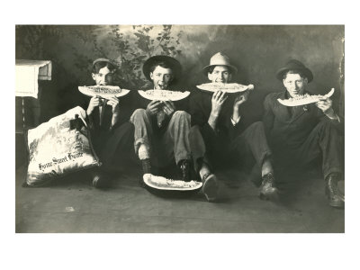 Teenagers Eating Watermelon Poster