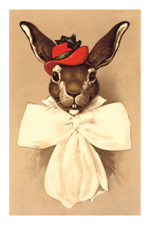 Rabbit in Bow and Hat Premium Poster
