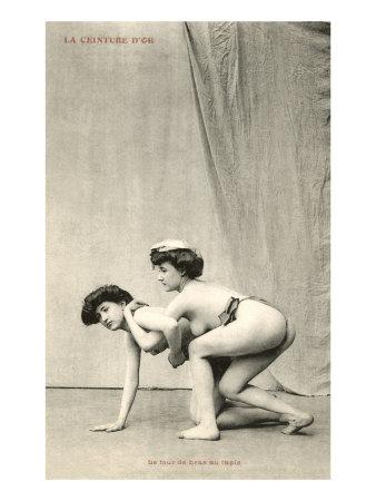 semi naked women wrestling gold belt Semi Naked Women Wrestling, Gold Belt Giclée Druck