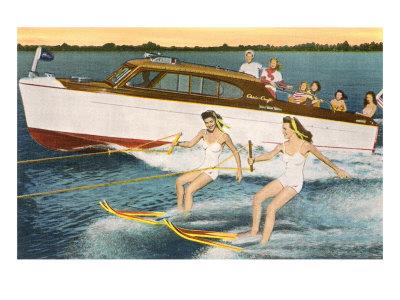 Women Waterskiing by Motorboat Prints