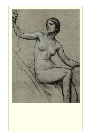 Conte Drawing of Nude Women Premium Poster