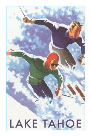 Skiers, Lake Tahoe Premium Poster