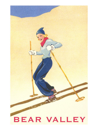 Woman Skiing Down Hill, Bear Valley Prints
