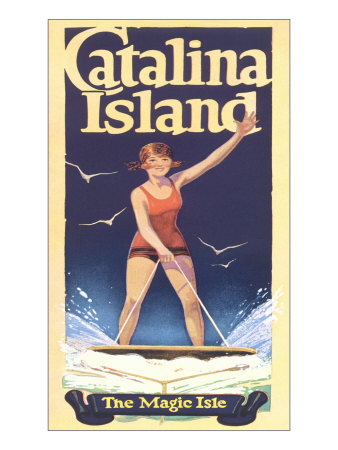 Woman Surfing on Catalina Island Poster