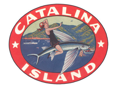 Woman Riding Flying Fish, Catalina Island Posters
